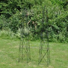 This classic pair of garden obelisk will look stunning with climbing plants growing up it.The Roman Obelisk will create a stunning look wherever it is placed. In a border or patio it will add an attractive feature, while at the same time giving strong support to lots of varieties of climbing plants such as sweet peas, honeysuckle or rambling rose. It is black and made from plastic coated steel for a long life. The attractive finial adds a touch of elegance and the obelisk stands 2.1m ... Willow Garden, Roman Fashion, Plant Supports, Climbing Roses, Wooden Garden, Backyard, Patio, Clematis, Flower Beds