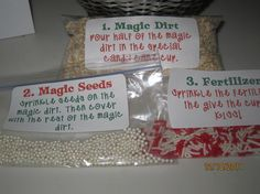 Magic garden - 1. Magic Dirt (Oatmeal), 2. Magic Seeds (pearl sprinkles) and 3. Fertilizer (red and white sprinkles)  Elf on the Shelf.