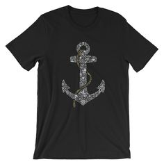 Anchor Drawing T-shirt, Unisex Short Sleeve Jersey T-Shirt, Ring Spun Cotton 100% by GuizmoPrintingStudio on Etsy