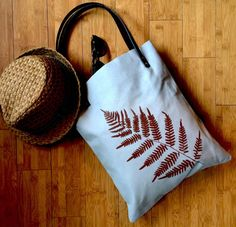 Handmade Tote bag with Fern Leaf Print by RubyFarms on Etsy