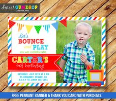 Printable Bounce House Birthday Photo Invitation - Jump Castle - Trampoline - Printable - Free Thank You Card and Pennant Banner - Find us on Facebook! https://www.facebook.com/pages/Sweet-Gumdrop-Creations/157015321151666