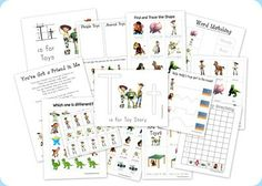 Toy Story Preschool Printables-pack with prinatble games for preschoolers. Great for lapbooks, busy binders, etc. Toy Story Theme, Toy Story Party, Toy Story Birthday, Learning Letters, Fun Learning, Learning Activities, Preschool Printables, Preschool Activities, Free Printables