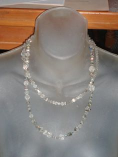 Vintage long Crystal faceted necklace with aurora borealis crystals