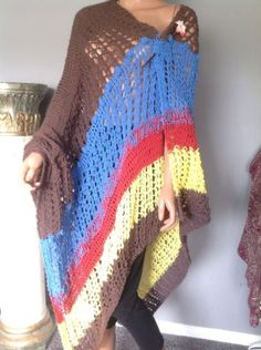 Shawl-Cotton-Hand-Knit-Hip-Designer-Fashion-Extra-Large-Multicolor-Spring-Summer