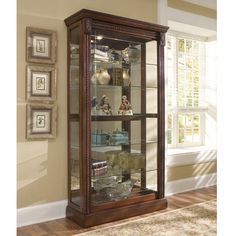 Medallion Cherry Curio Cabinet by Pulaski Furniture – My Furniture Place Solid Wood Furniture, My Furniture, Kitchen Furniture, Living Room Furniture, Furniture Outlet, Furniture Stores, Online Furniture, Etched Glass Door, Wood Glass