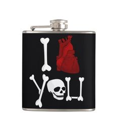 I love you hip flask with heart, skull and bones