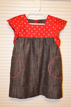 Ruffle Sleeve Toddler Dress Tutorial - repurposed jeans and an old dress. From daffodilssmilinga...