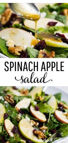 Apple cranberry spinach salad filled with greens, crisp apples, dried cranberries, walnuts, feta cheese and a delicious honey dijon dressing. salad Apple Cranberry Spinach Salad & Honey Dijon Dressing - I Heart Naptime Cranberry Spinach Salad, Spinach Salad Recipes, Easy Salad Recipes, Easy Salads, Healthy Salads, Vegetarian Recipes, Healthy Eating, Healthy Recipes, Dinner Salad Recipes