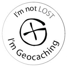 Geocaching :: I'm Not Lost, I am Geocaching (Geocoin) Button Badge -