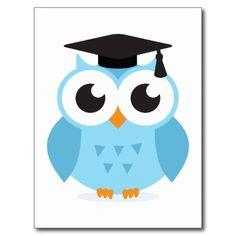 Cute Cartoon Owls | Cute cartoon owl graduate with mortarboard post card from Zazzle.com