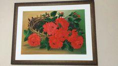 Pintura em tela a óleo,  rosas.