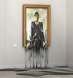 """Multidisciplinary artist and designer Alper Dostal created this fun series entitled """"Hot Art Exhibition"""" where he visualizes some of the world's most iconic paintings melting in the heat of summer. More art on the grid via Behance Rene Magritte, Piet Mondrian, Pablo Picasso, Textiles Sketchbook, Exhibition, Expositions, Art Series, Land Art, Art Festival"""