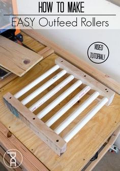 How to Make Easy Outfeed Rollers Video Tutorial is part of Woodworking workshop - How to How to make simple but efficient out feed rollers from very inexpensive materials which pair with many shop tools like a planer, miter saw, or table saw Woodworking Workshop, Woodworking Projects Diy, Woodworking Furniture, Diy Wood Projects, Wood Crafts, Woodworking Classes, Woodworking Basics, Woodworking Techniques, Woodworking Essentials