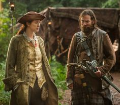 Claire (Caitriona Balfe) and Murtagh (Duncan LaCroix) in The Search of Outlander…