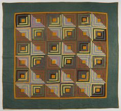 """Pennsylvania pieced log cabin quilt, ca. 1900, 80"""" x 80"""", Pook & Pook"""