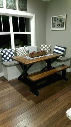 80 Nice Banquette Seating Ideas for Kitchen & corner bench with dining table. this could be perfect as a half wall ...