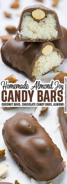 Almond Joy Candy Bar Recipe, Coconut Candy Bars, Almond Joy Cookies, Chocolate Candy Recipes, Chocolate Coconut Bars, Quick Chocolate Desserts, Homemade Chocolate Bars, Homemade Snickers, Creative Desserts