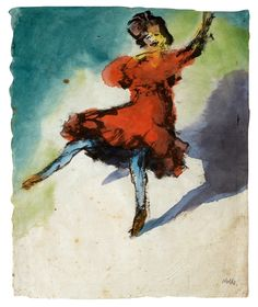 Dancer in a Red Dress, 1910, by Emil Nolde (German, 1867-1956); watercolor and India ink on Japan paper, in Kunsthalle in Emden.