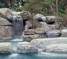 Many pool designers use artificial rocks and boulders to create caves, grottos, and waterfalls for lagoon pools. Photo courtesy of Tom Jackson/RicoRock, Inc http://www.luxurypools.com/blog/entryid/122/faux-style-artificial-rocks-boulders.aspx