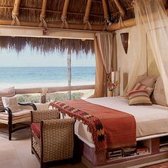 Bedroom for the cabana! The bed frame is molded concrete form. Tropical Bedrooms, Tropical Houses, Beach Bedrooms, Tropical Decor, Cabana, Boho Beach Style, Bali Style, Sweet Home, Romantic Room