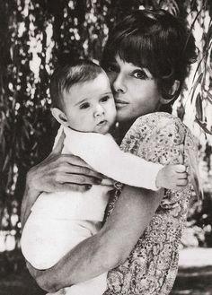 Audrey Hepburn with her baby son Luca, in 1970.
