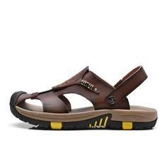 New Summer Shoes Men's Leather Sandals Brown Casual Beach Sandals Slippers Flat Fashion Design Sandals Men Shoes - 10 MINUS