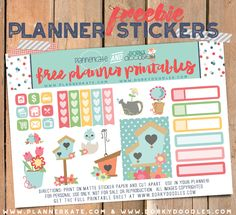 Free Printable Spring Planner Stickers from Planner Kate and Dorky Doodles