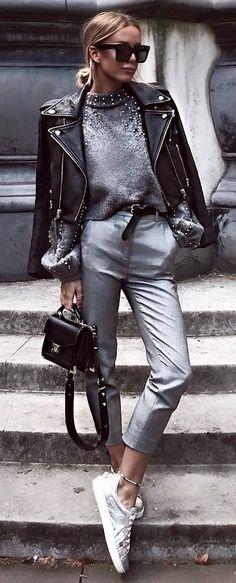 Stylish Look Sweater Plus Bag Plus Biker Jacket Plus Grey Pants Plus Sneakers