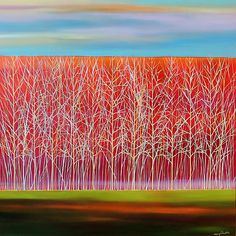 Trees on Red by Mary Johnston: Oil Painting available at www.artfulhome.com