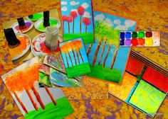 PAINTED PAPER: Poplar Trees inspired by Claude Monet