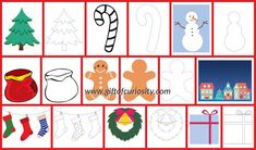 Free Christmas Play Dough Mats to inspire your children to get creative with their play dough this holiday season. Play dough mats promote fine motor skills development, sensory play, and creativity. These Christmas play dough mats include both color and black line options.    Gift of Curiosity