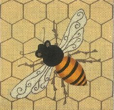 """""""Bee Square"""" painted canvas by Zecca Size: x Mesh Count: 18 Needlepoint Patterns, Needlepoint Canvases, Cross Stitch Patterns, Bee Friendly Plants, Photo Pattern, Bee Design, Quilt Festival, Knitting Designs, Beaded Embroidery"""