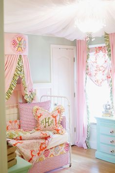 Gorgeous nursery! Love the pastels and check out that ceiling!