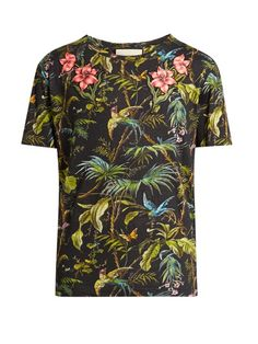 7380a6cfdbaf Gucci Jungle-print and appliqué linen T-shirt Gucci Shirts Men