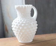 Vintage Fenton Milk Glass Hobnail Pitcher Ruffled Edge and Spout Crimped Rim Applied Handle Syrup Pitcher Hobnail Jug Home Dining Decor by IguanaFindIt on Etsy