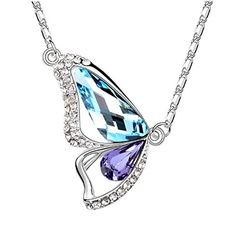 ON SALE AT http://jewelrydealsnow.com/?a=B012XEDJ1W - Kaariag Punkin™ Butterfly-Shaped Pendant Fashion Crystal Elements Necklace""