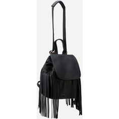 SheIn(sheinside) Black Faux Leather Tassel Fringe Drawstring Flap... (280.140 IDR) ❤ liked on Polyvore featuring bags, handbags, shoulder bags, fringe backpack, faux-leather backpacks, flap backpack, boho purses and draw string backpack