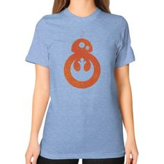 BB 8 Rebel Alliance Logo Unisex T-Shirt (on woman)