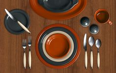 Fiesta Dinnerware Colorama. Click here to create your own color combinations, right from your computer! This one features Paprika, Slate and Ivory.