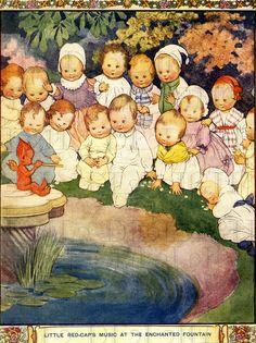 BEBÉS adorables.  Con un poco de rojo ELF.  Ilustración de la vendimia.  DESCARGAR bebé Digital.  Bebés Digital Print.  Perfecto para las etiquetas, avisos