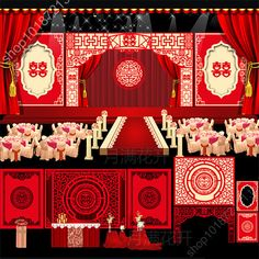 中式婚礼舞台背景设计结婚庆典迎宾合影墙签到迎宾区背景设计图
