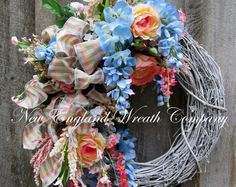 Floral Wreath, Summer Cottage Wreath, Designer Floral Wreath, Victorian Garden Wreath, Country French Wreath, Elegant Floral Wreath