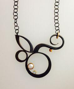 """Barbara Umbel   """"Surf Flower Necklace""""; Oxidized sterling silver, 18kt gold, freshwater pearl, blue topaz"""