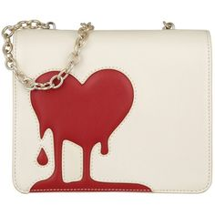 Moschino Shoulder Bag - Heart Crossbody Calf PU Avorio/Rosso - in... ($225) ❤ liked on Polyvore featuring bags, handbags, shoulder bags, beige, purse crossbody, handbags shoulder bags, beige shoulder bag, shoulder strap bags and handbags crossbody