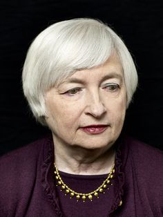 JanetYellen I love the silver hair jumping off the background. I love the makeup: light eyeshadow, deep lipstick and matching purple wardrobe Janet Yellen, Head Of State, Best Portraits, Silver Hair, Movie Stars, City Photo, Athlete, Photoshoot, Makeup Light
