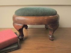 Vintage oval green and wood Footstool by ModelVintage on Etsy, $48.00
