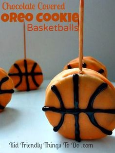 March Madness and Game Day Snack. Fun Idea!  Basketball treat! http://kidfriendlythingstodo.com/2013/02/basketball-decorated-cookies-on-a-toothpick-a-fun-food/