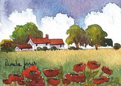 ACEO Original watercolour Red Roof Cottage by Pamelajonesartstudio