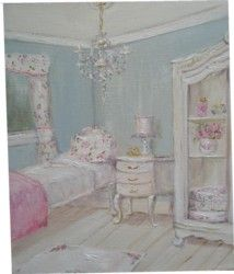 Original Whimsical Painting - The Shabby Chic Guest Room - Postage is included Australia Wide