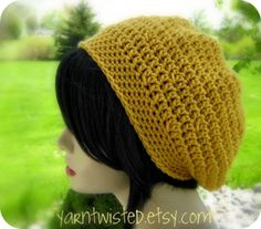 Crocheted Slouch Hat / Beanie - Women - Teen - Sunflower yellow - back to school - fall fashion Crochet Slouch Beanie, Slouchy Hat, Crochet Yarn, Crochet Hooks, Crocheted Hats, Cute Hats, Silly Hats, Black Crochet Dress, Yarn Bombing
